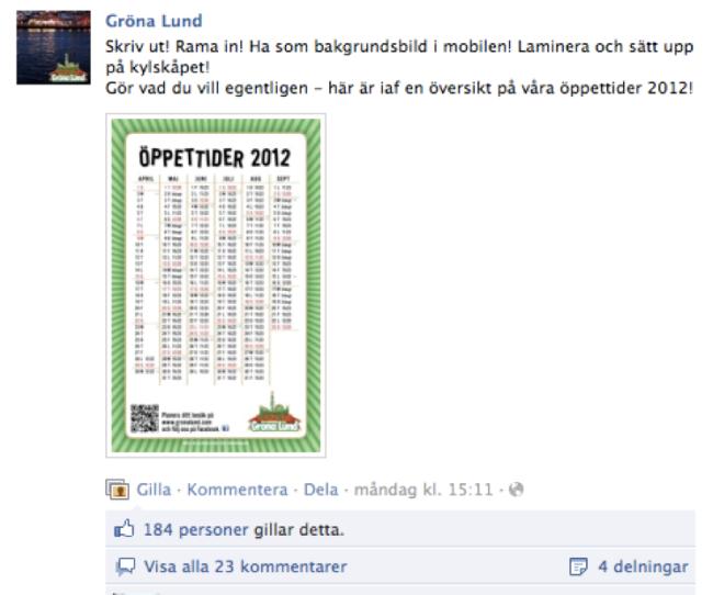 Skärmdump från Gröna Lunds Facebooksida